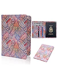 HDE Leather Passport Holder Cover - Premium RFID Blocking Travel Wallet - 3D Men and Women Passport Case Secure Protection (Travel Stamps)