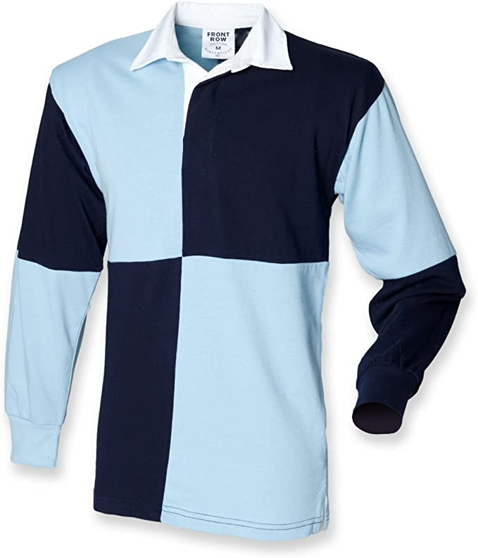 Front Row - Camiseta de rugby, diseño de cuadros Navy / Sky XX ...