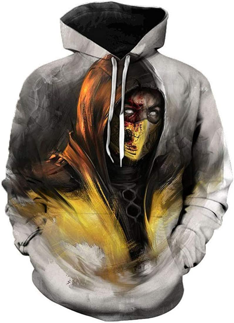 Hoodies Mortal-Kombat Cosplay Unisex 3D Print Sweater Kangaroo Pocket Anime Hoody Sweatshirt for Mens,Womens,Teens