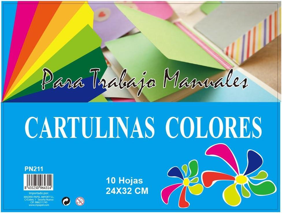 MP PN211 - Pack de 10 cartulinas, 160 gr, multicolor: Amazon.es: Oficina y papelería