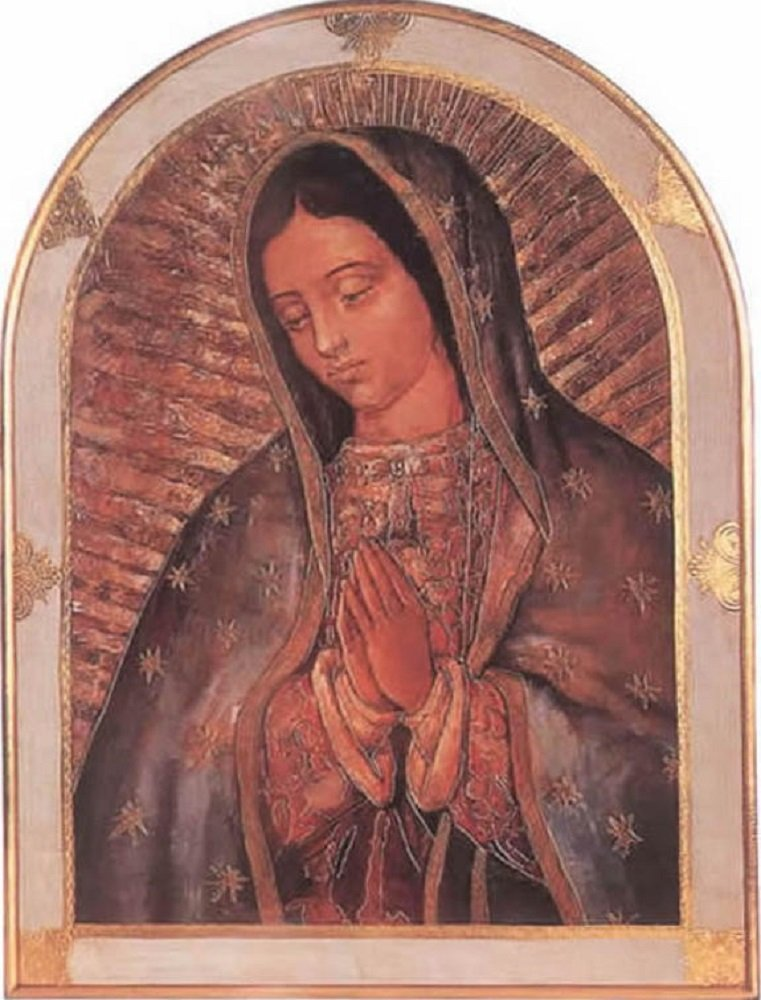Our Lady of Guadalupe Florentine plaque with a gold and white trimmed border, 23 x 31 inches. Made in Italy