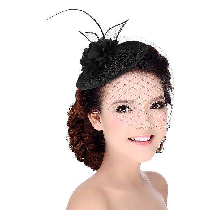 GEMVIE Women s Pillbox Hat with Veil Fascinators for Wedding Tea Party Black 677ca72f9a7