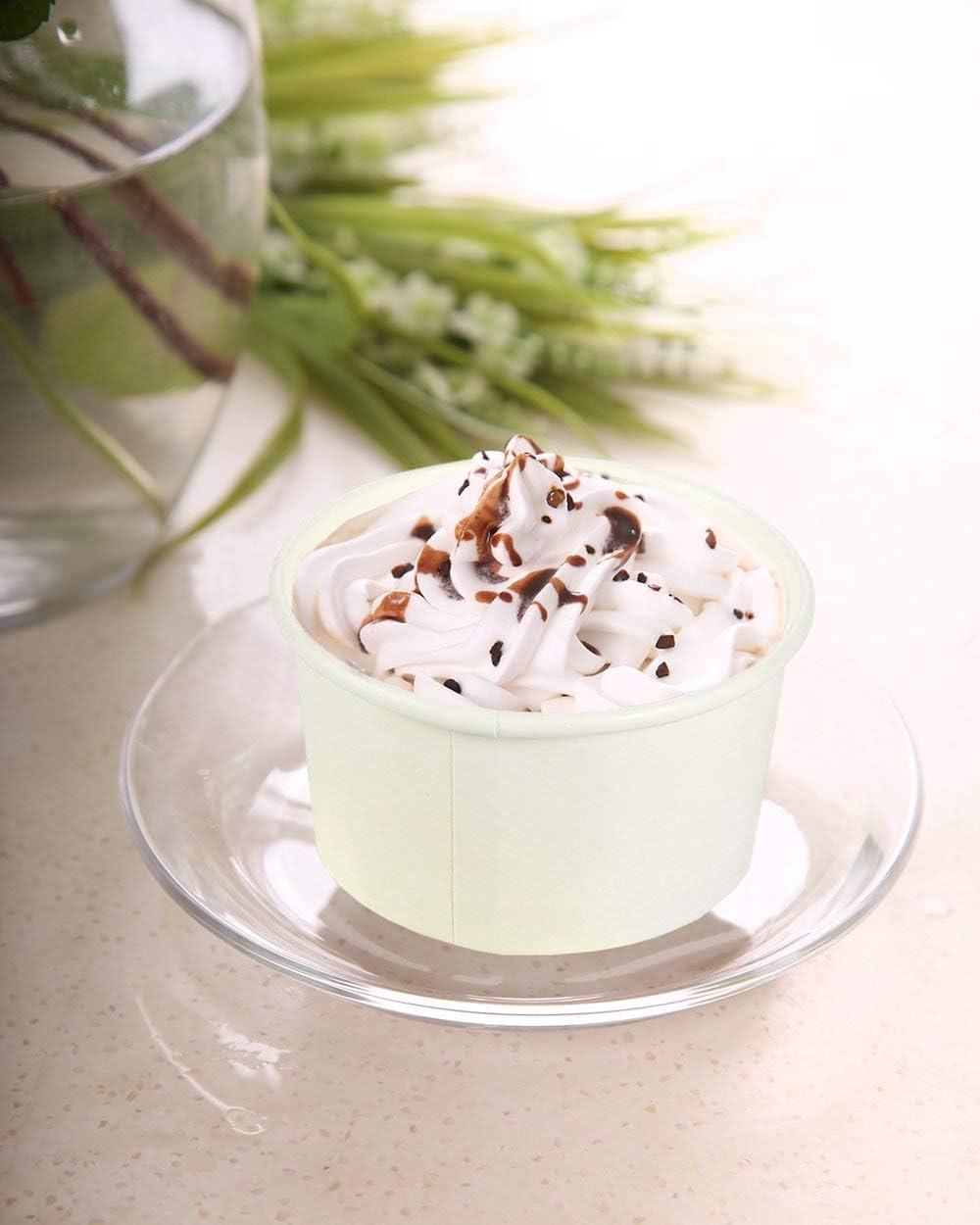 /100-pieces papier jetables /à dessert Ice Cream Yoghourt bols de f/ête Coupe Glac/ée Tasses/ Blanc