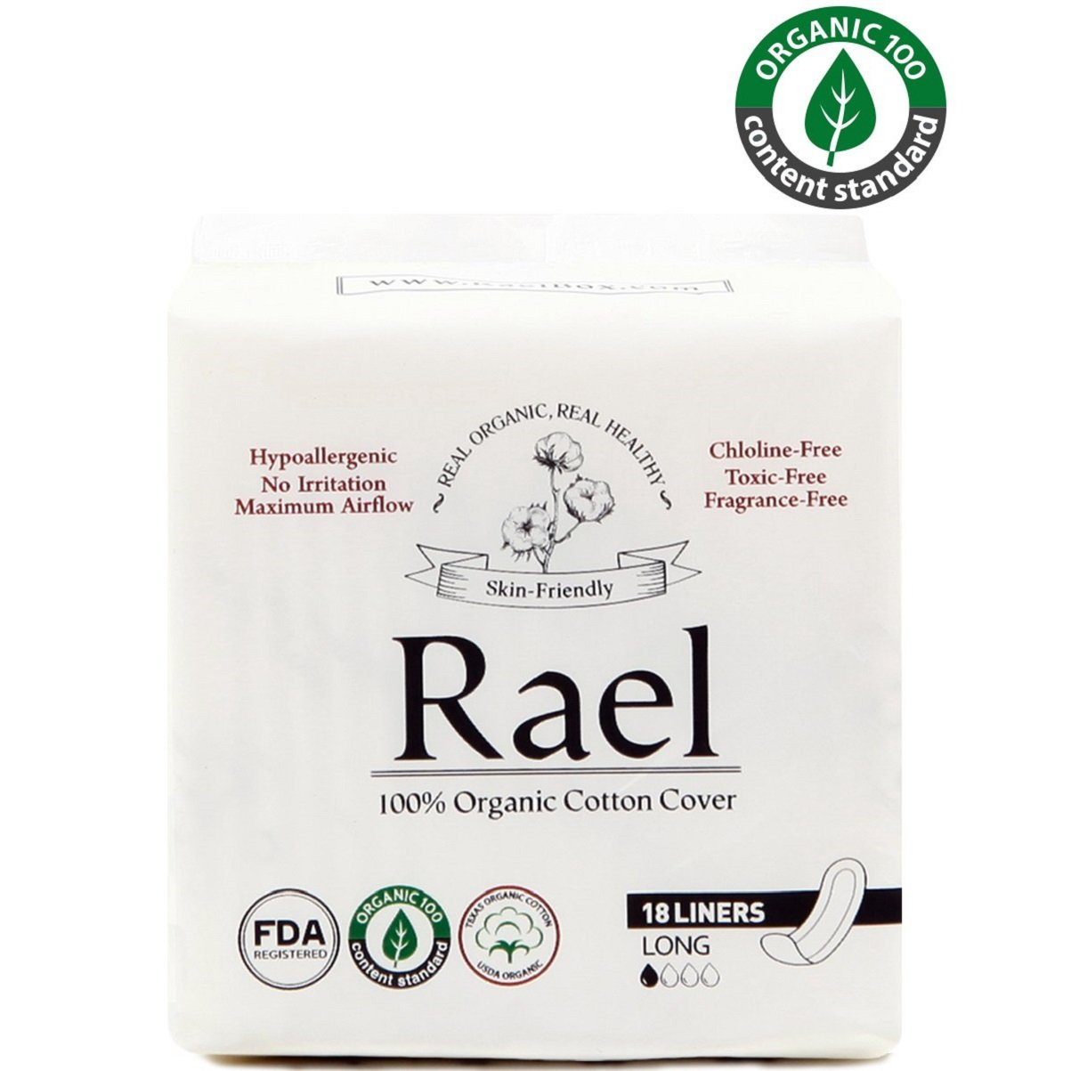 Rael Certified Organic Cotton, Unscented, Natural Daily Panty-Liners, Long, Pack