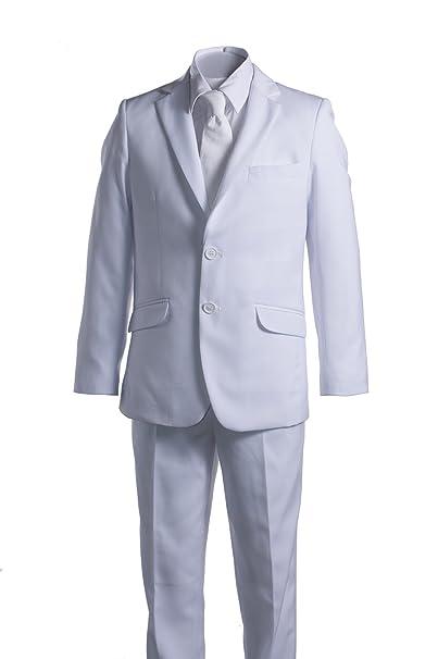 Amazon.com: Boys Slim Fit Comunión traje blanco con ligueros ...