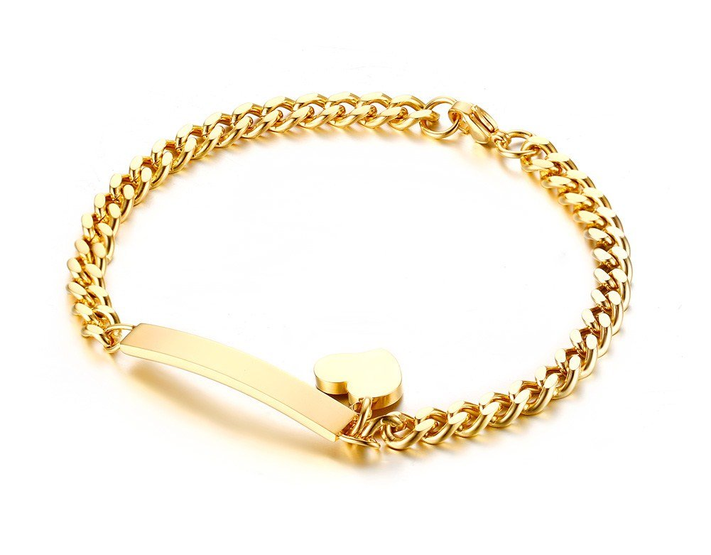 PJ Jewelry Stainless Steel Thin ID Tag Chain Bracelets with Small Heart Charm for Women,7.8'',Gold Plated
