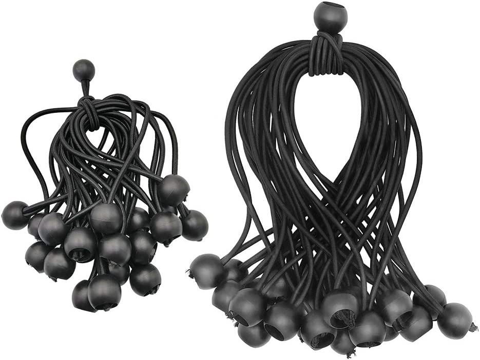 6 inch /& 9 inch Black Tie Down Cord Bungee Ball Canopy Cords for Canopies Camping Tarps Cargo Tent Ball Bungee Cords 6 inch x 9 inch