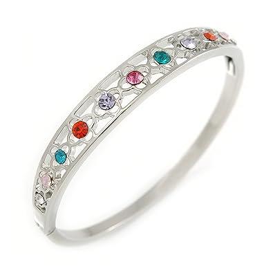 Avalaya Multicoloured Crystal Floral Bangle Bracelet In Polished Gold Tone - 19cm L Qo5gw2ID