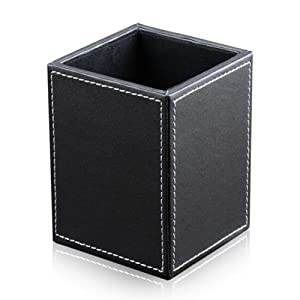 KINGFOM PU Leather Square Pens Pencils Holder Cup Desktop Stationery Organizer Case Office Accessories Container Box (black)