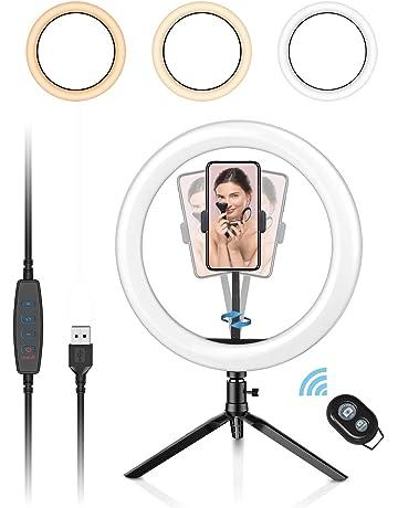 Selfie Vid/éo Vlog RTAKO Anillo de Luz Exterior LED 16CM 5W C/ámara Foto Video Kit de Iluminaci/ón con 55CM Soporte de Tres Patas L/ámpara Regulable con 3 Modos y 10 Niveles de Brillo para Youtube
