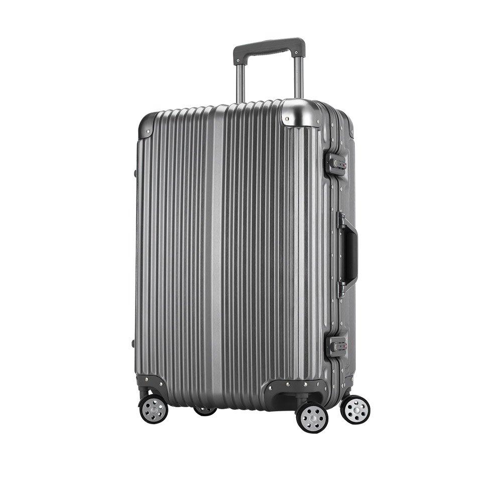 [トラベルハウス]Travelhouse スーツケース キャリーバッグ アルミフレーム ABS+PC 鏡面 超軽量 TSAロック B01M15GJSJ M|グレー(Bタイプ) グレー(Bタイプ) M