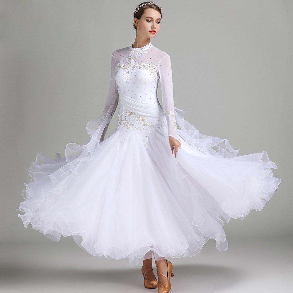 現代の女性の大きな振り子の手刺繍タンゴとワルツダンスドレスダンスコンペティションスカート長袖ラインストーンダンスコスチューム B07HHXD283 Medium|White White Medium