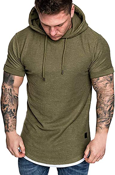 COOFANDY Mens Athletic Hooded Shirt Slim Fit Short Sleeve Lightweight Pullover