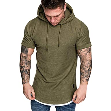 1df67ec04f48 Pandaie Mens Blouse Shirts Fashion Men's Slim Fit Casual Pattern Large Size  Short Sleeve Hoodie Top. Roll over image to ...
