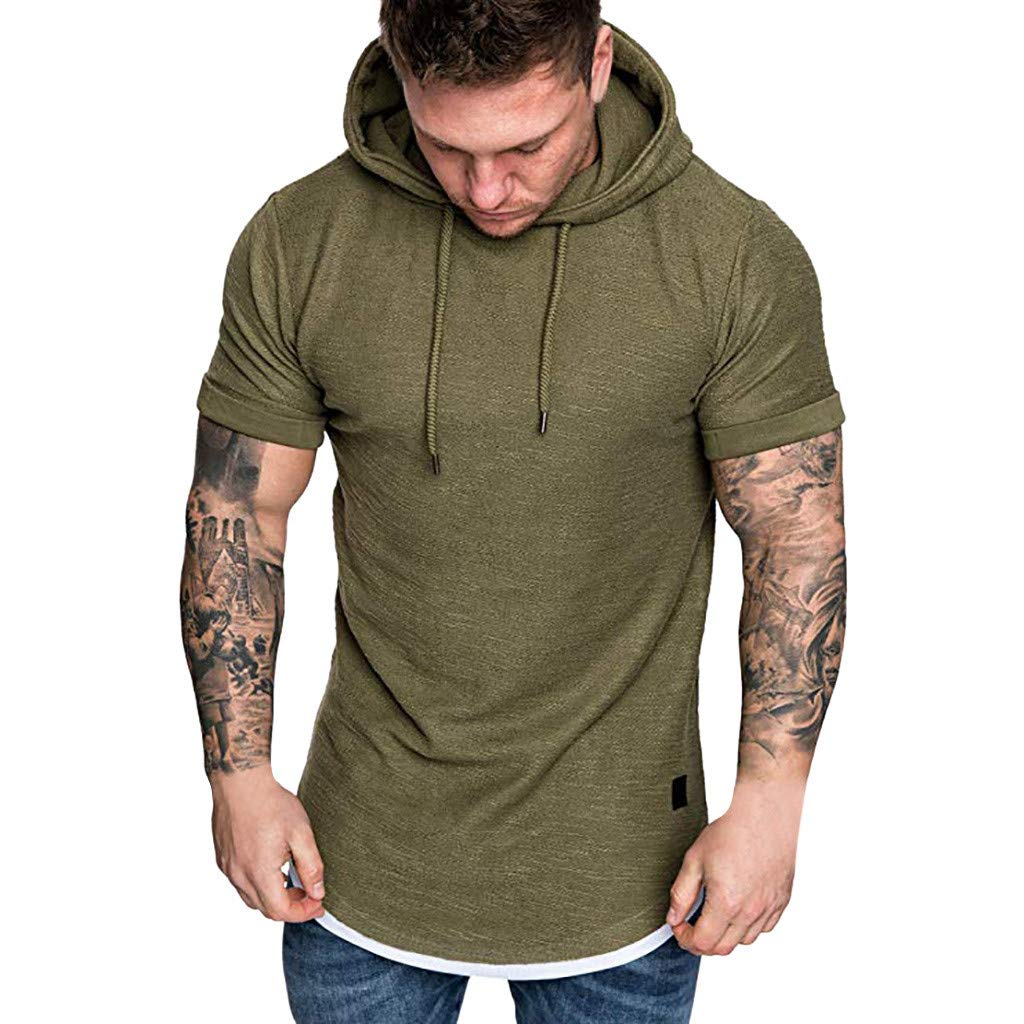 Men's Hoodie Short Sleeve Shirts,Casual O-Neck Pullover Slim Fit Workout Solid Top Blouse (Army Green, M)