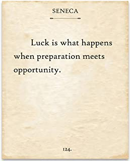product image for Seneca Quote - Luck is What Happens When Preparation Meets Opportunity - 11x14 Unframed Typography Book Print - Great Motivational Gift and Decor for Home and Office Under $15