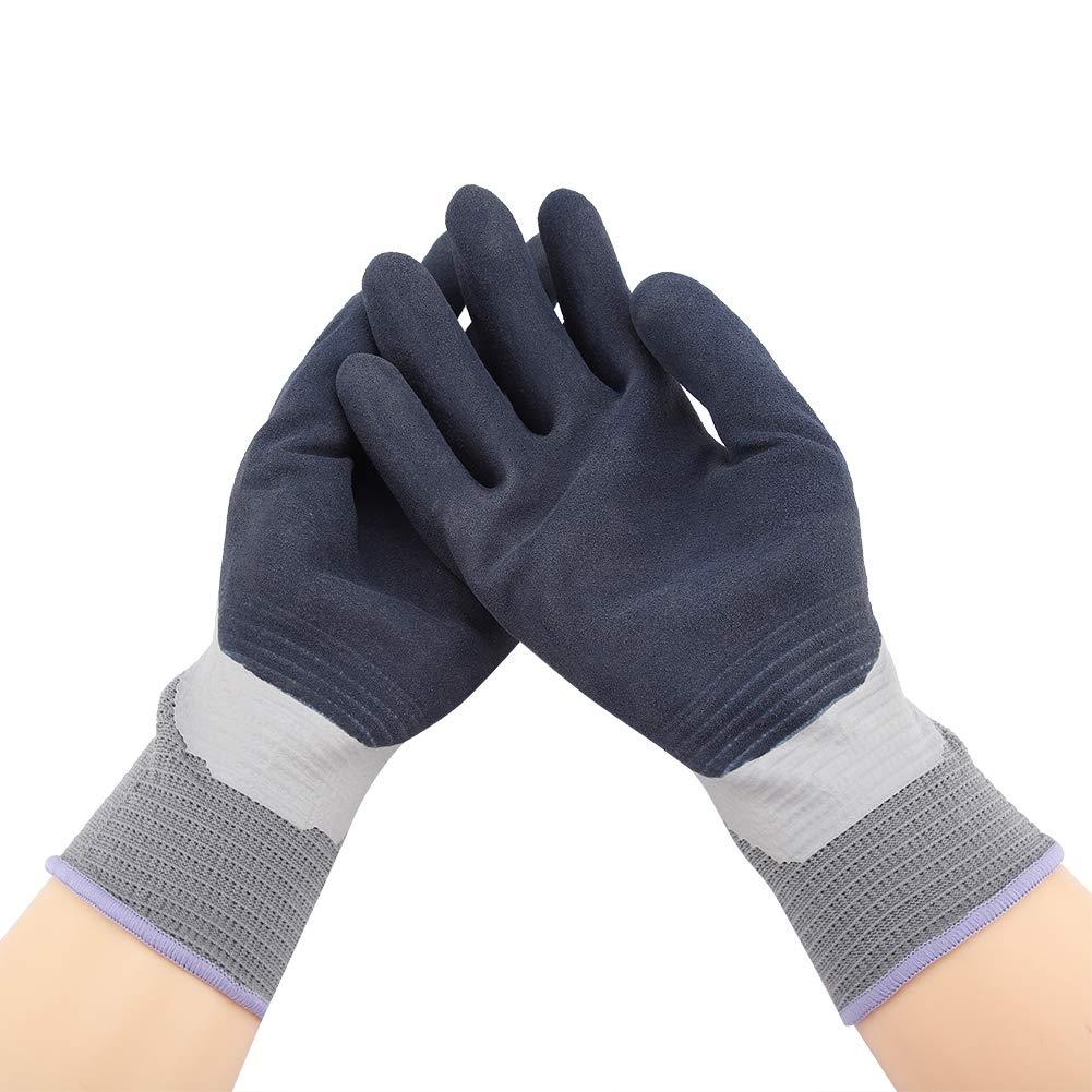 Fdit L/átex Impermeable Totalmente Recubierto Agarre Trabajo Laboral Excelentes Guantes de Flexibilidad Antideslizantes de Seguridad para Jardiner/ía M