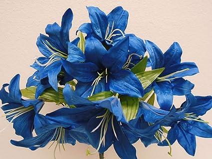 Amazon phoenix silk tiger lily bush satin 11 artificial flowers phoenix silk tiger lily bush satin 11 artificial flowers 19quot bouquet 8225 dark blue mightylinksfo