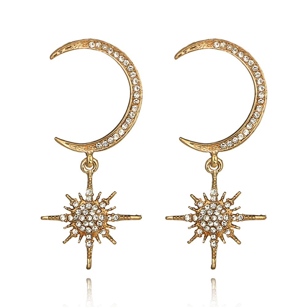 MIXIA Vintage Gold Color Multi-Crystal Moon Star Drop Earrings Jewelry Full Rhinestones Crescent Star Earrings for Women Girls