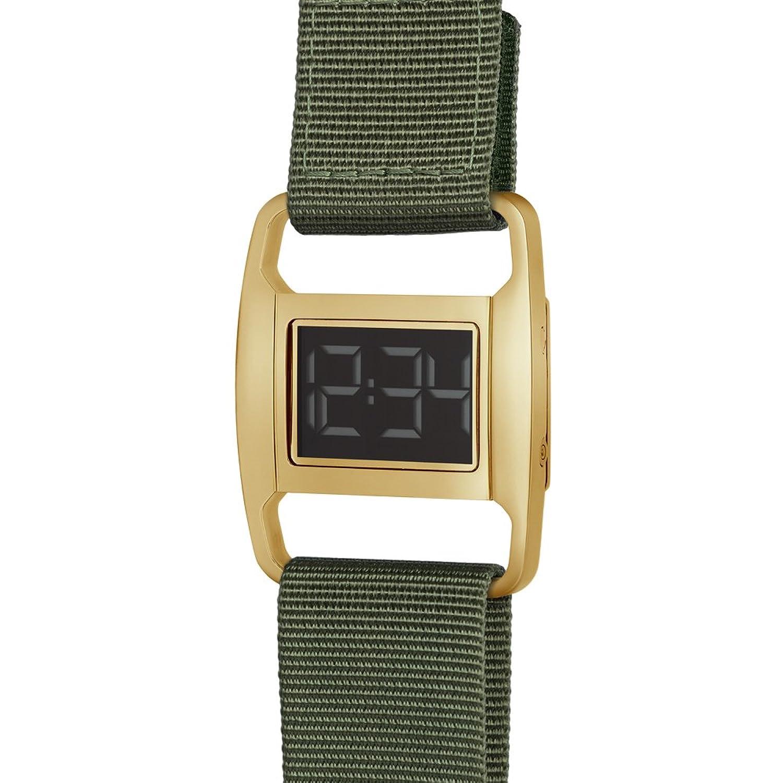PXR-5 - Digitaluhr von Michael Young fÜr VOID - Style: Poliert Gold & Olivefarbenes Nylon Armband