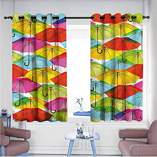 Printed Insulation Curtain Modern Vivid Umbrella Figures Decor Curtains by W55 xL39 Suitable for Bedroom,Living,Room,Study, - Agatha Umbrella