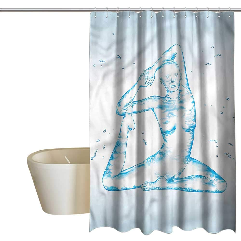 Shower Curtains Rose Gold Yoga,Aquatic Woman Zen Pose,W108 x L72,Shower Curtain for Shower stall