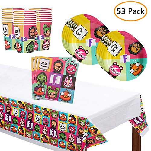 Birthday Party Supplies for Game Fans, 53 Pcs Party Favors - Plates, Cups, Table Mat and Tablecloth for Kids Video Game Themed Party