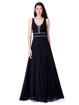 6cccd2ff25 Ever-Pretty Women Fashion A Line V Neck Long Chiffon Formal Evening Dress  4US Black