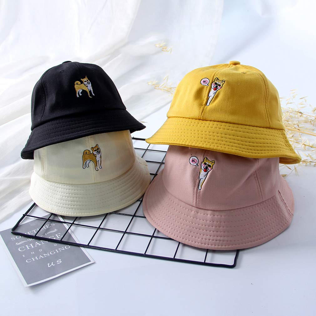 ZHANGYUFAN Sun Hat Embroidery Puppy Dog Fisherman Hat Female Summer Cute Child Parent-Child Hat Girl Basin Cap Visor Fashionable Unisex Funky Bucket Hat Outdoor Cap Bucket Hat