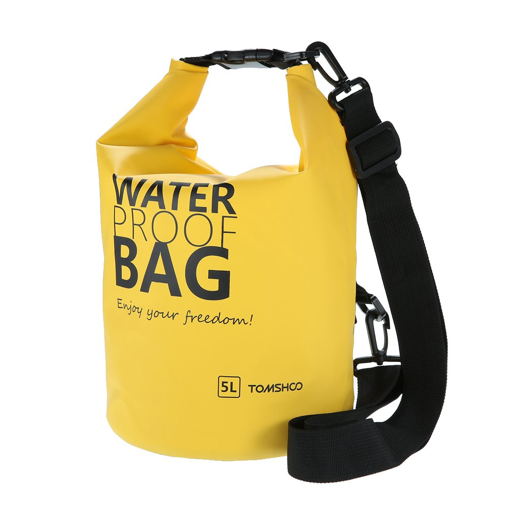 TOMSHOO 5 Litres Sac Etanche Poche Dry Bag Sac sec pour Camping Nautique Kayak Pêche Rafting Canoë-kayak