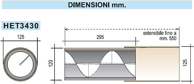 Avorio Lunghezza da 29,5 a 55 cm La Ventilazione HET3430 Silenziatore Acustico Elicoidale Helix34 con Tubo Telescopico per Fori di Ventilazione diametro 125 mm