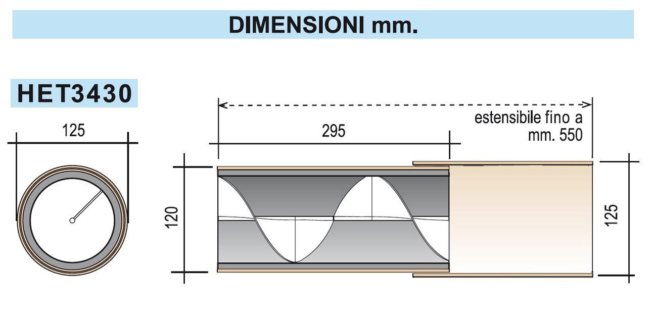 La ventilaci/ón het3430/Silenciador Ac/ústico espiral helix34/con tubo telesc/ópico para agujeros de ventilaci/ón, Marfil, longitud de 29,5/a 55/cm, di/ámetro 125/mm