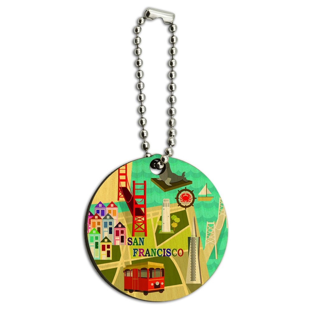 Graphics and More San Francisco Golden Gate Bridge Bay Pier 39 Wood Wooden Round Key Chain