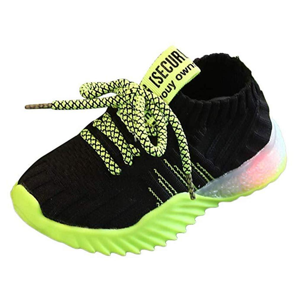 Kids LED Slip on Sneakers Light Up Flashing Sneakers Girls Boys Knit Comfortable Fashion Walking Shoes (Toddler/Little Kid) Black by KINGLEN Baby shoes
