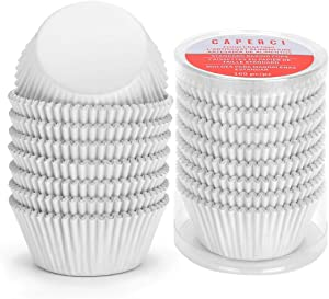 Caperci White Foil Cupcake Liners Standard Muffin Wrappers 160-Pack - Premium Greaseproof & Sturdy Cupcake Papers for Baking