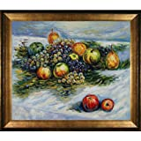 overstockArt Monet Pears and Grapes with Athenian Gold Frame Oil Painting, Antique Finish