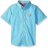 U.S. Polo Assn. Little Boys' Short Sleeve Plaid Sport Shirt, Check Dots Flip Flop Blue, 5/6