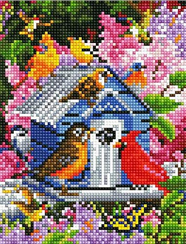 DIY Handwork Store 5D DIY Crystal Diamond Painting Kits by Numbers Full Square Drill Animals Spring Birdhouse Flower Cross Stitch Arts Craft Gifts Mosaic Embroidery Home Wall Sticker 15.7x 19.7