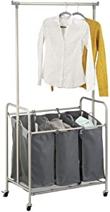 mDesign Portable Laundry Sorter with Wheels and Attached Steel Hanging Bar - 3 Compartment Design, Polyester Fabric - Charcoal Gray/Satin