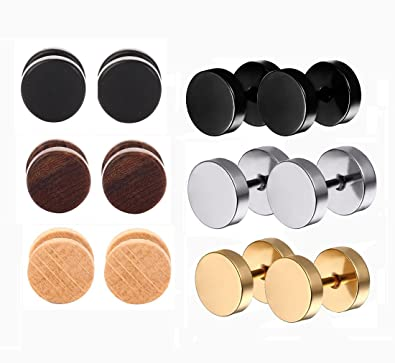 edd1c5aed Tanyoyo Wood Cheater Fake Ear Plugs Gauges Illusion Screw Stud Earrings  3pair a set (3pair