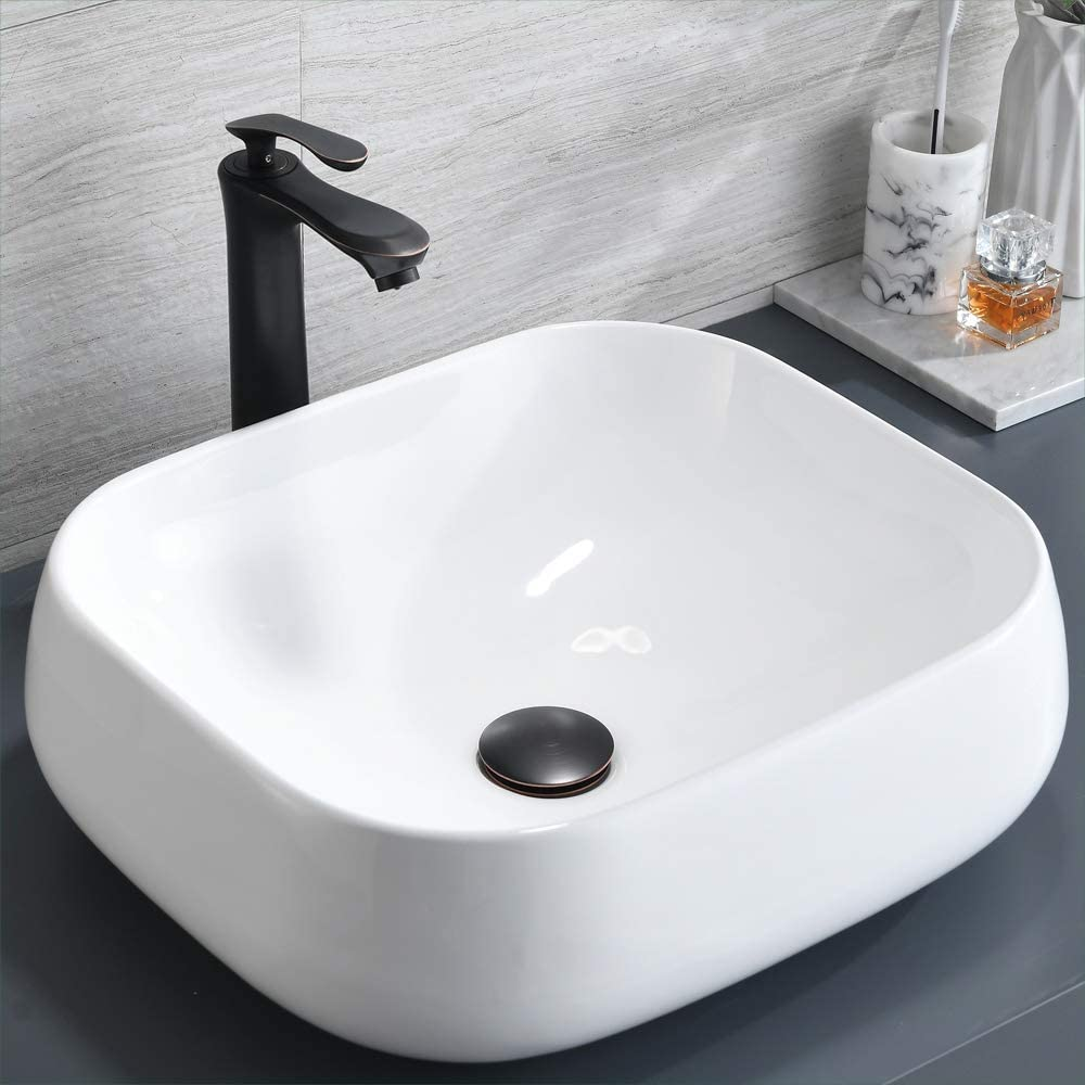 Bathroom Lavatory Vanity Vessel Sink, BoomHoze Above Counter Porcelain Ceramic Art Basin with ORB Vessel Sink Faucet and Pop Up Drain