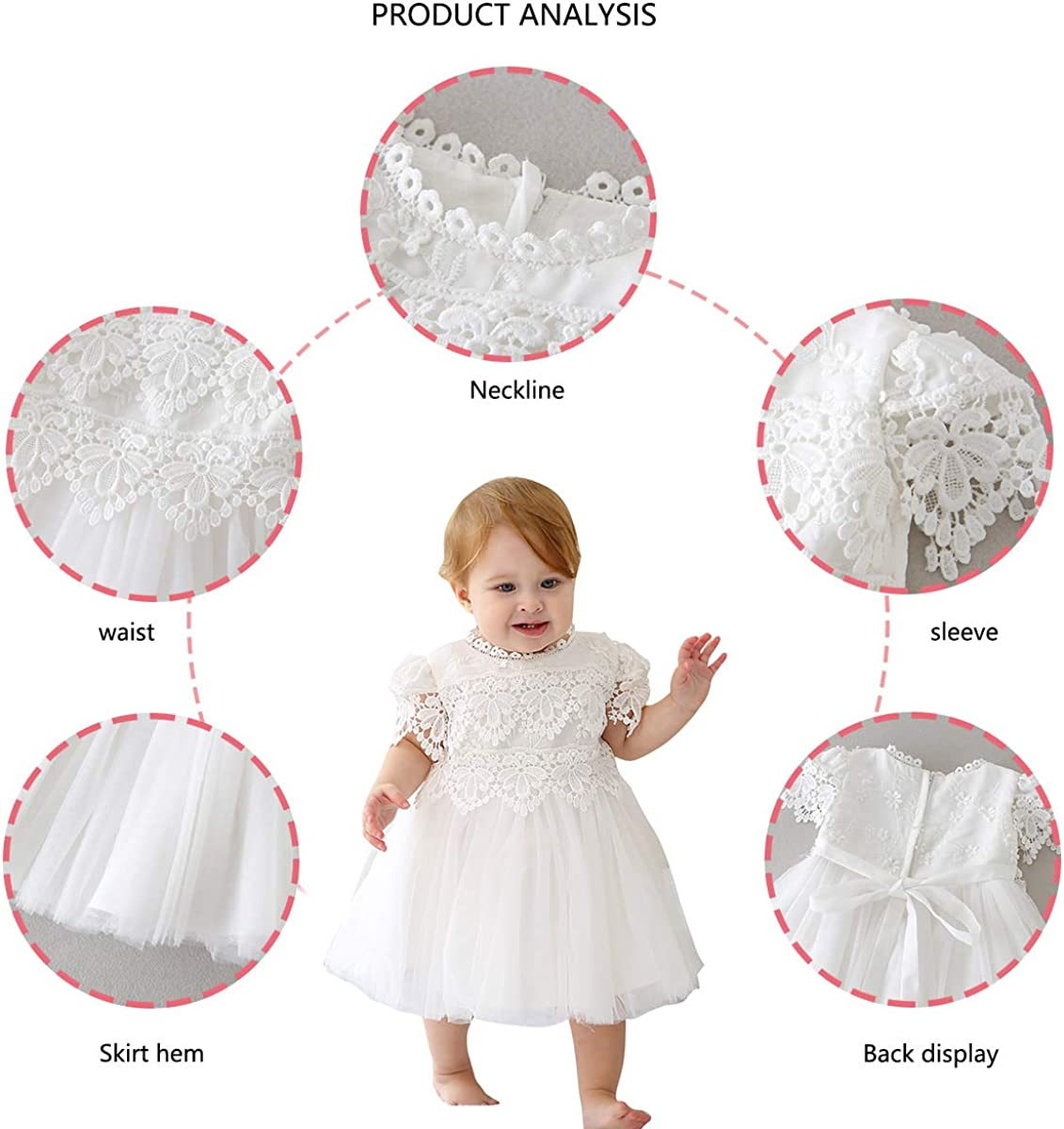 Happy Cherry Lace Gown Toddler Girls Formal Wedding Birthday Dress for Baby Girlss Dress Princess White 3-24 Months