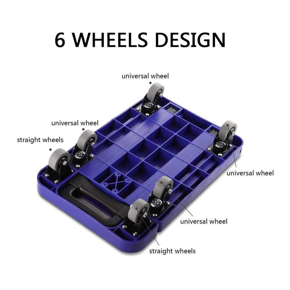 Graspwind Hand Truck Folding Luggage Cart 3-fold Handle 360°Rotate 6 Wheels and Free Rope Travel Trolley 440lbs (Blue) by Graspwind (Image #2)
