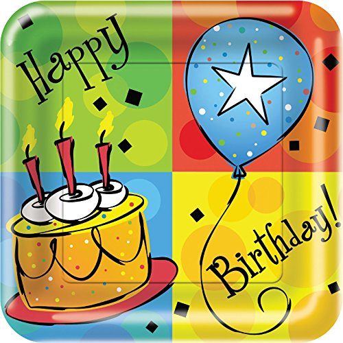8 Count Cake Celebration Square Paper Lunch Plates, 7