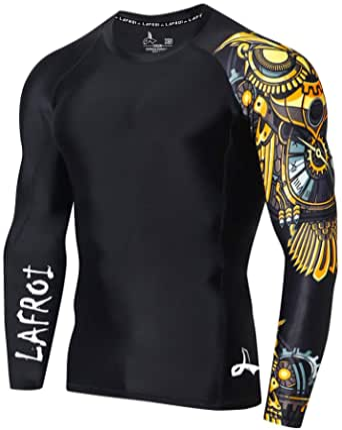 LAFROI Heren Lange Mouw UPF 50+ Baselayer Skins Performance Fit Compressie Rash Guard-CLYYB