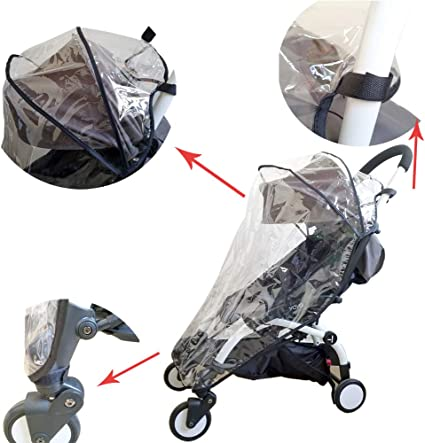 Protection Windproof Waterproof See Thru Shade Ventilation Umbrella 2019 Upgraded Version Protector de lluvia Pushchair Rain Cover Travel Weather Shield for Babyzen YOYO YOYO+ Strollers