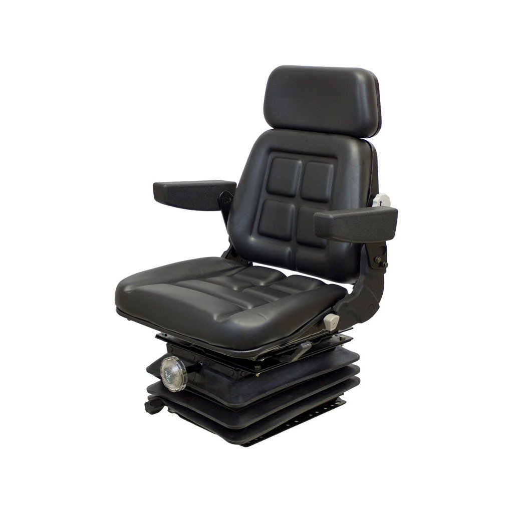 K&M 039-6543 CIH 5100 Series Maxxum KM 1004 UNI PRO Seat and Suspension, Black Vinyl