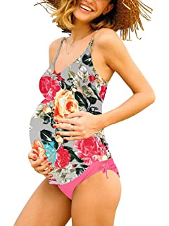 de3336cf1 Women Halter Maternity Tankini Swimsuit Floral Pregnancy Plus Size Swimwear