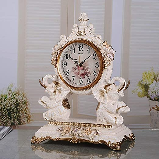 Amazon.com : Family Fireplace Clocks Desk Watch Tablecloth Clocks Living Room Resin European Style Mute Clock Bedside Clock Decoration ó n p Clock é ...