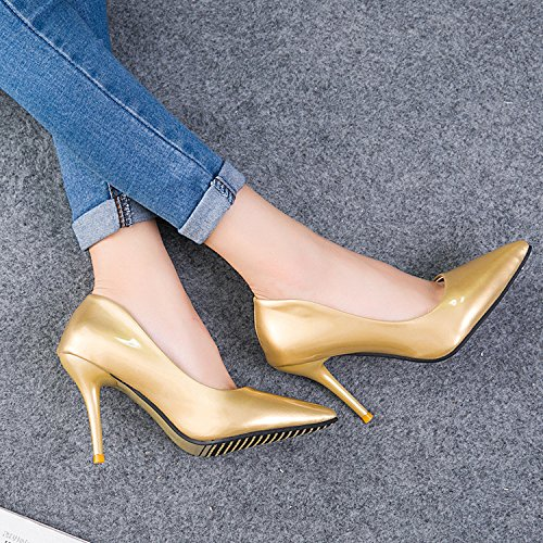 pointed Women's shoes height work thin golden multicolor and shoes high aZ6w1qZxv